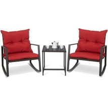 3 Pcs Patio Rocking Chair Outdoor Rattan Chair Set with Cushions Table - $145.99