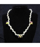 Hemp Necklace with Yellow Red and Blue Clay Accent Beads 19.75 inches - $15.00