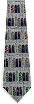 House of the Lord Mens Silk Neck Tie Religious Stained Glass Church Gray... - $18.76