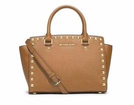 NWT Michael Kors Original Studded Selma Medium Satchel Bag Peanut Brown ... - $249.90