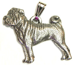 Shar Pei Pendant Dog Harris Fine Pewter Made in USA jewelry - $10.99