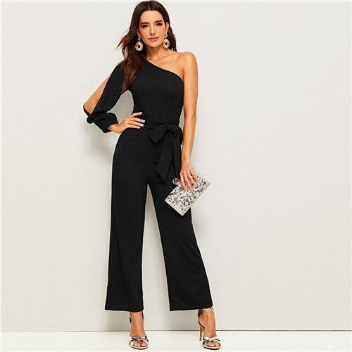 Ide leg belted maxi jumpsuit women autumn solid zipper side e4abf999 40e6 432c b54c 5a3bb95fdbac