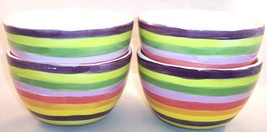 NEW Set of 4 Hand Painted Multi Colored Striped Pasta Soup Bowls with Flaws - $14.84