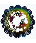 "Fairy Wind Spinner New Zephyr Spiral 12"" Steel Two Fairies 3D  - $25.73"