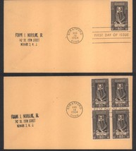 Shakespeare first day covers Stratford, Conn; Aug 14, 1964 single & block of 4 - $2.99