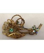 Vtg Austria Flower Pin Brooch AB Rhinestones Prong Set Gold Tone Filigree - $16.77