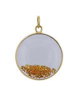 Yellow Sapphire Gemstone Shaker Pendant 14k Yellow Gold Solid Jewelry - $769.23