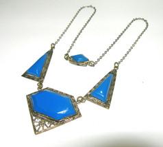 ANTIQUE BLUE CELLULOID SILVER TONE ART DECO VINTAGE GEOMETRIC NECKLACE - $115.00