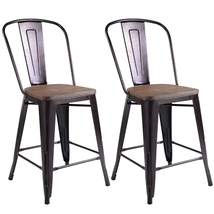 Copper 2-Set Metal Wood Counter Stool Rustic Dining Chairs - Color: Copper - $176.42