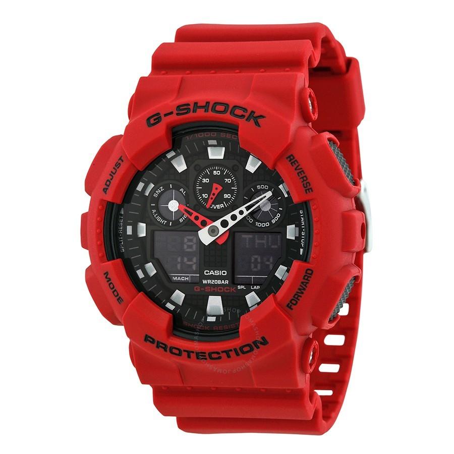 Casio Men's G Shock Red Analog Digital Watch GA100B-4A Wristwatch for sale  USA