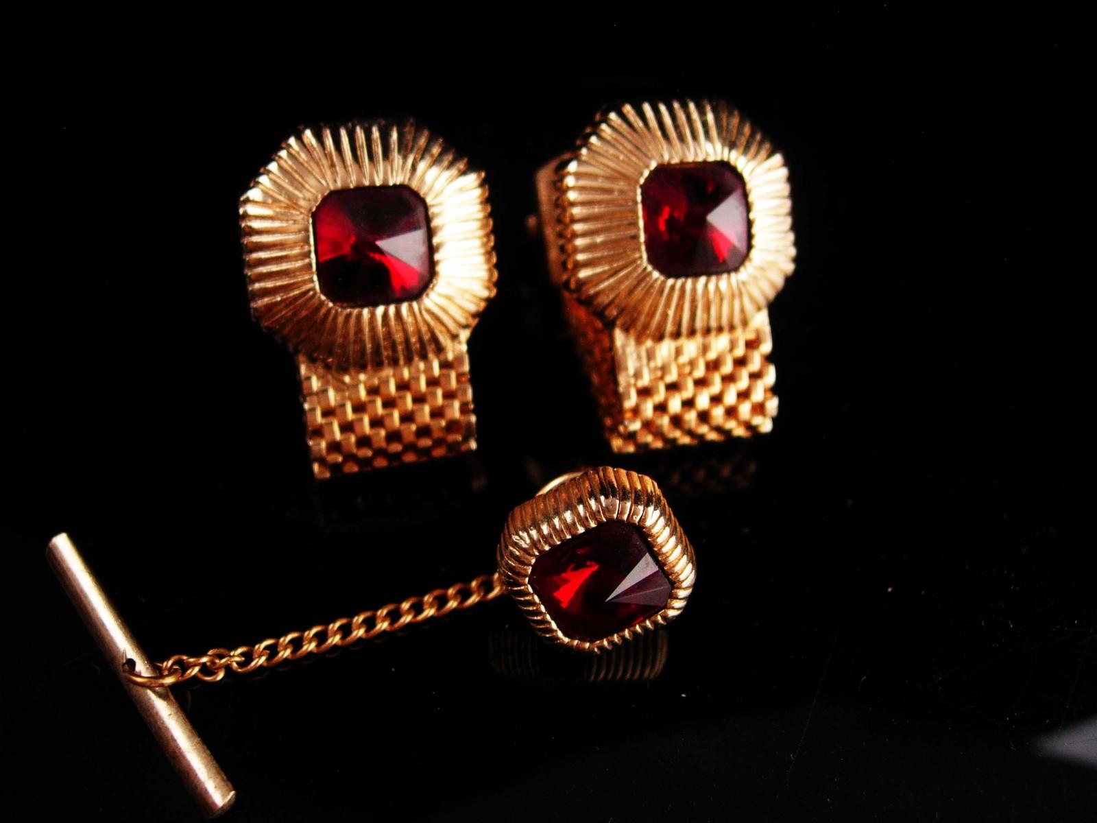Garnet Wrap Mesh Cufflinks - Red  Rhinestone Jeweled tie tack - Birthday Wedding