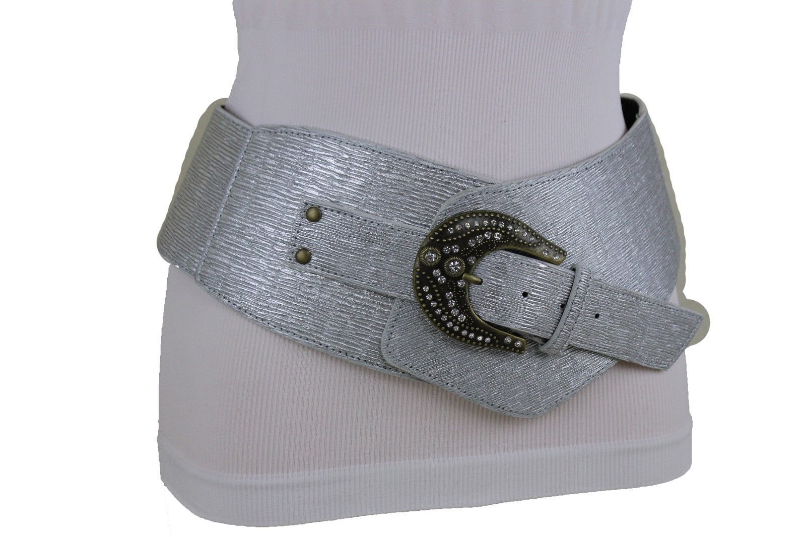 Sexy Damen Silber Kunstleder Breit West Cowgirls Mode Rodeo Gürtel Größe M L