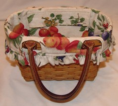 Longaberger Basket w/ Leather Handles w/ Fruit Print Lining 2004 Signed - $24.87