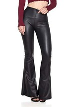 Women Black Bell Bottom Genuine Patient Leather Pants , Women Wasit Belt... - $219.99+