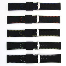 Mens Sports Watch Strap Band COLOURED STITCHING Black Silicone Rubber Wa... - $13.10