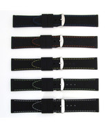 Mens Sports Watch Strap Band COLOURED STITCHING Black Silicone Rubber Wa... - $13.21