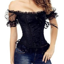 Front and Back Black Ribbon Lace Up Bustier Corset With Sheer Lace Cap Sleeves