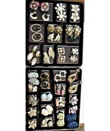 Vintage lot of Clip On Earrings 28 Pair Deco Castlecliff Marvella Germany Monet - $98.01