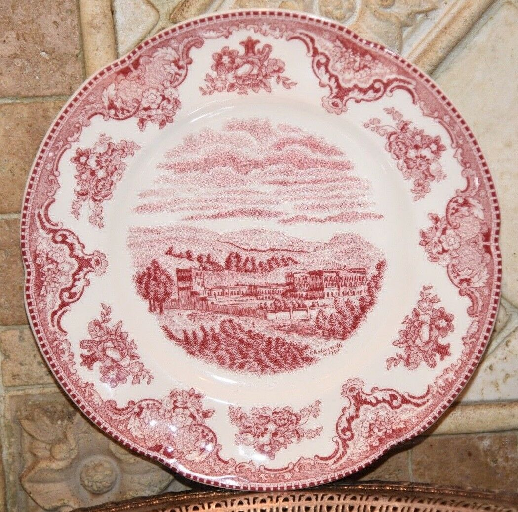 """JOHNSON BROTHERS OLD BRITAIN CASTLES PINK TOILE SALAD PLATE 8"""" CHATSWORTH 1792"""