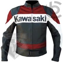 KAWASAKI RED MOTORBIKE MOTORCYCLE BIKERS COWHIDE LEATHER ARMOURED JACKET - $194.99