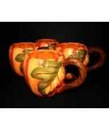 4 Pumpkin Thanksgiving Fall Coffee Mugs Better Homes Garden Heritage Col... - $49.49