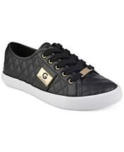 G by Guess Women's Backer2 Lace Up Leather Quilted Pattern Sneakers Shoes Black