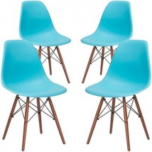 Plastic Side Chair Aqua Set of 4 Modern Seats Home Cathedra Office Recliner - €251,26 EUR