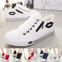 Fashion Casual Red Lips Low Help Side Zipper Canvas Shoes Women Fashion Leisure