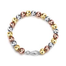 Rose Gold Tone over Sterling Silver Bead Adjustable Bracelet - $11.75