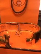Authentic HERMES Clic Clac Wide Bracelet H BLACK GOLD HW SZ M Bangle  image 12