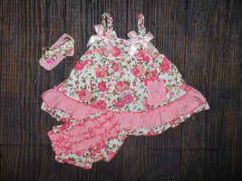 NEW Baby Girls Pink Floral Ruffle Swing Dress Bloomers Outfit Set 12-18 ... - $12.99