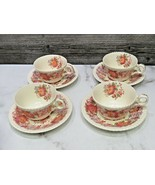 Set of 4 Copeland Spode Aster Red Cups and Saucers  - $31.68