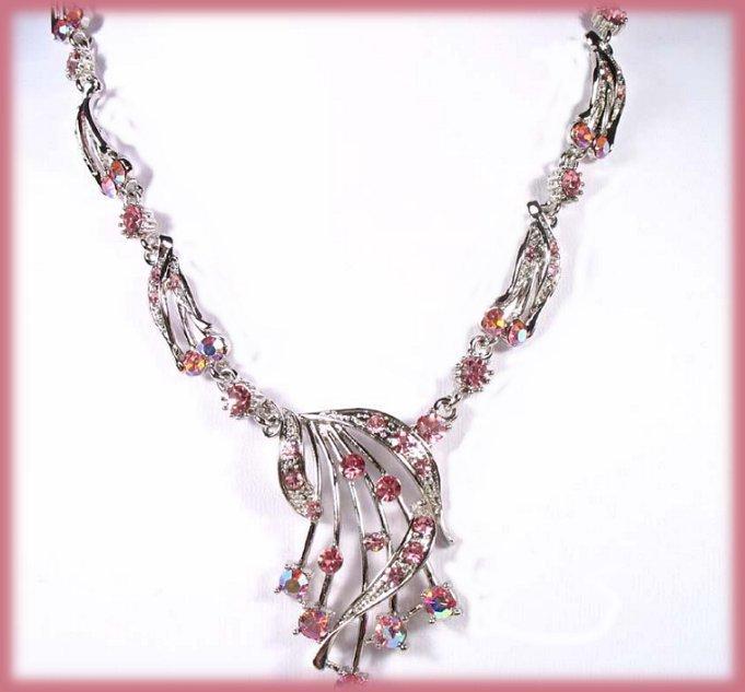 Pink Star Shower Necklace Earring Set Swarovski Crystals New
