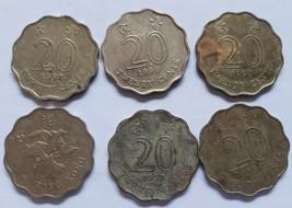 Six Coins Hong Kong 20 cents 1994, 1995, 1997 - $3.95