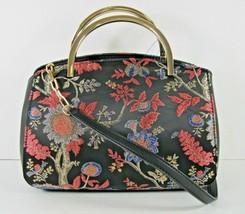 Nine West NWT Black Vissa Small Embroidered Floral Satchel Purse Handbag X - $31.50