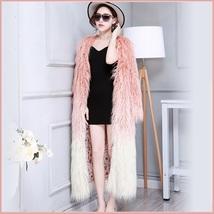 Shaggy Gradual Pink Long Hair Mongolian Sheep Faux Fur Long Length Winter Coat image 2