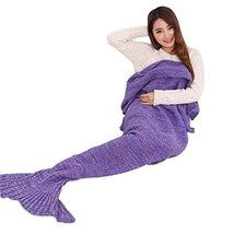 Mermaid Tail Blanket Throw Knitted Handmade Super Soft  170cmX90cm  Slee... - $30.51
