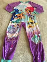 Nickelodeon Shimmer & Shine Girls Purple Teal Fleece Long Sleeve Pajamas 8 - $7.38