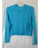 NWT Hooked Up Bright Blue Long Sleeve Soft Cable Mock Neck Sweater XS Or... - $23.27