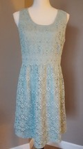 Ann Taylor Loft Dress Blue Floral Crochet Sleeveless Floral Size 12P NEW... - $37.39