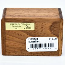 Northwoods Wooden Parquetry Country Garden Butterflies Mini Trinket Box image 5