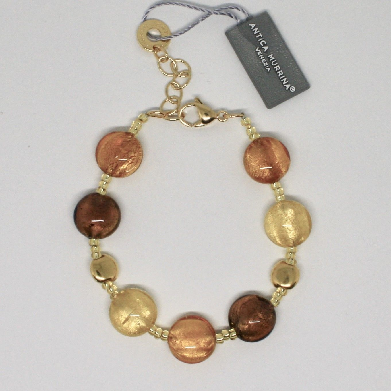 ANTICA MURRINA VENEZIA BRACELET WITH MURANO GLASS BROWN GOLD YELLOW BR297A10