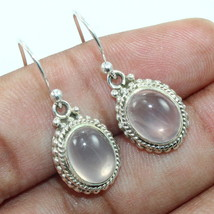 925 Sterling Silver Rose Quartz Oval Drop Earrings, Handmade Jewelry for... - $22.99