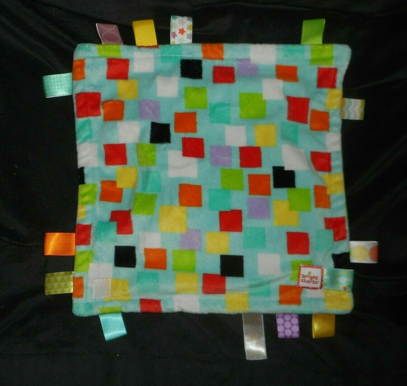 Primary image for TAGGIES BRIGHT STARTS SQUARES BLUE & TEAL SECURITY BLANKET STUFFED PLUSH LOVEY