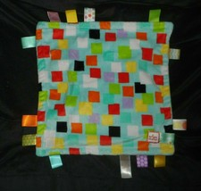 TAGGIES BRIGHT STARTS SQUARES BLUE & TEAL SECURITY BLANKET STUFFED PLUSH... - $14.00