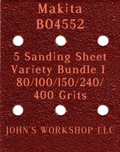 Makita BO4552 - 80/100/150/240/400 Grits - 5 Sandpaper Variety Bundle I - $7.53
