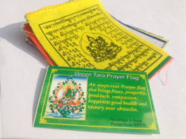 Green Tara  Printed Tibetan Prayer Flag - $2.41
