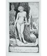 NUDE EX LIBRIS Young Maiden Garden Rocks Stream Statue  - 1922 Lichtdruc... - $13.49