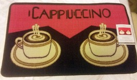 """Printed Nylon Kitchen Rug (18""""x 30"""") 2 Coffee Cappuccino Cups, By St, Rectangle - $16.82"""