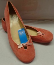 Ann Taylor sz 8.5 Pink Suede W Bow  Ballet Flat Slip on Shoes Pre Owned - $29.69